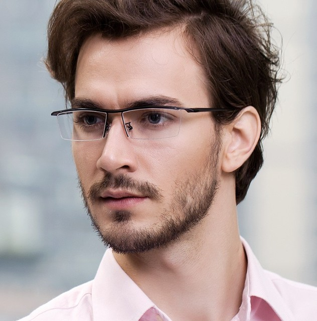 eyeglasses frames 2015  Mens Metal TR90 Frame Glasses Rectangle Semi Rimless Clear Lens ...