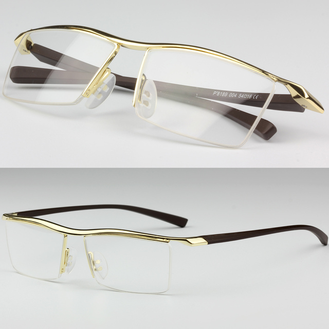 Rimless Clear Glasses : Mens Metal TR90 Frame Glasses Rectangle Semi Rimless Clear ...